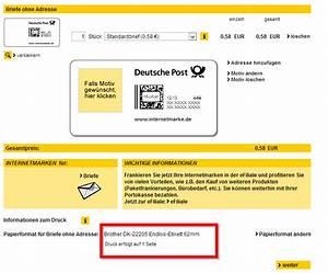 Porto Berechnen Deutsche Post : briefmarken selber drucken internetmarke brother ~ Themetempest.com Abrechnung