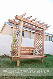 Ana White Outdoor Bench with Arbor - DIY Projects