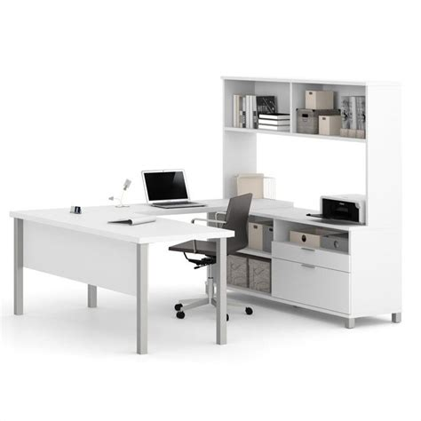 bestar innova u desk with hutch in white and antigua bestar pro linea u shaped computer desk with hutch in