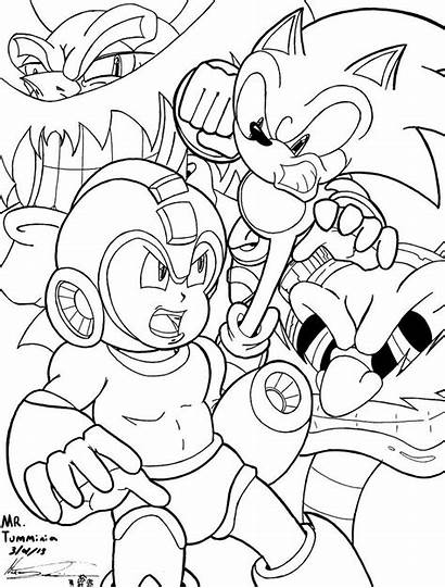 Mega Sonic Coloring Drawing Crossover Pages Lineart