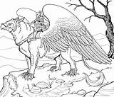 Coloring Pages Animals Griffin Adult Fantastic Colouring Animal Therapy Fantasy Dragon Adults Mythical Printable Griffon Books Sheets Creatures Drawing Difficult sketch template
