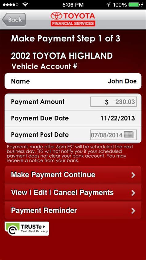 toyota canada financial phone app shopper mytfs toyota financial services finance