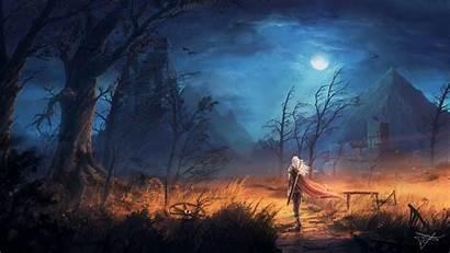 Deviantart Wallpapers Fantasy Warrior Landscape Night Castle