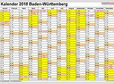 Kalender 2018 BadenWürttemberg Ferien, Feiertage, PDF