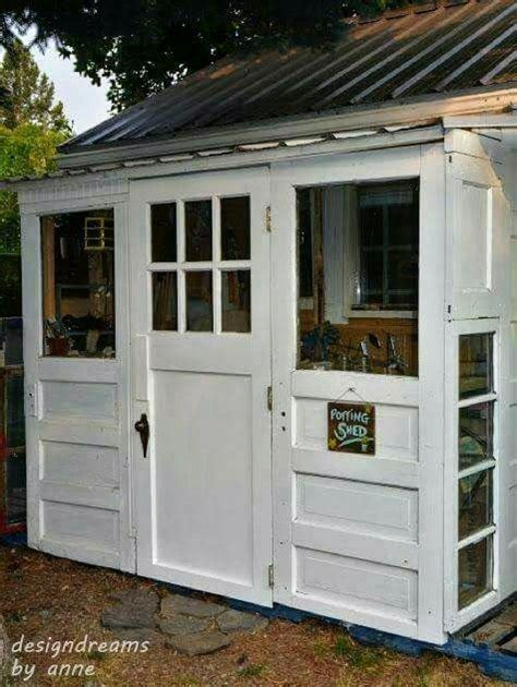 neat garden shed idea    repurposed doors shed