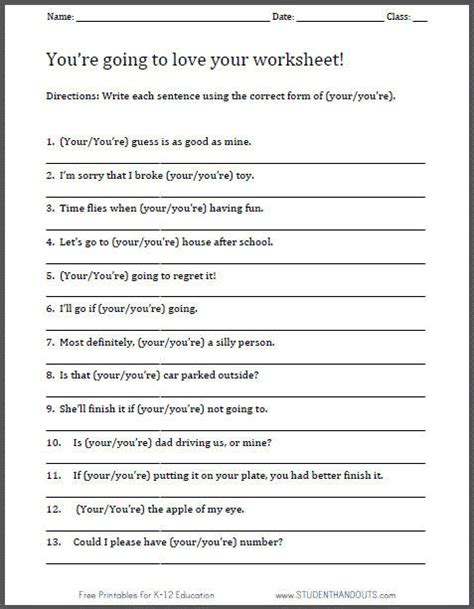 free printable your you re worksheet for language