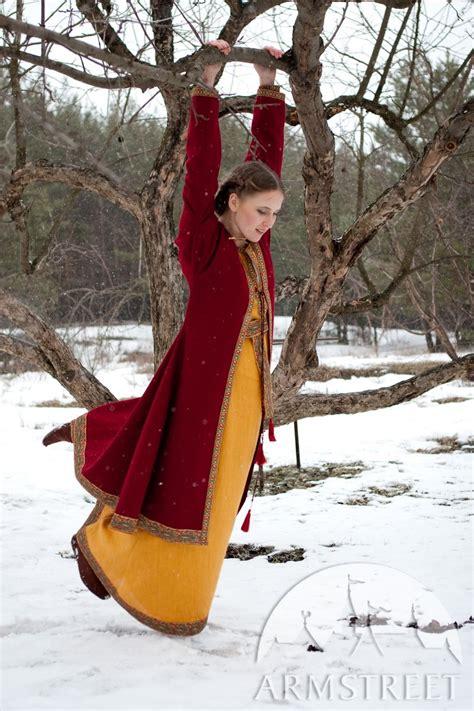 full dark ages north europe womens medieval travel dress underdress  coat set knyazhna
