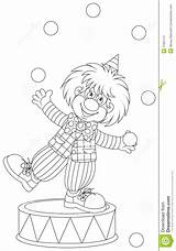 Clown Juggler Outline Coloring Funny Balls Vector Juggling Illustration sketch template