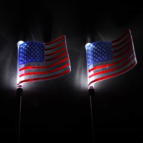 2 pack solar powered patriotic outdoor garden u s flag