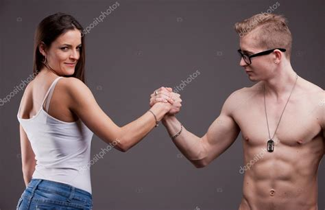 Man VS woman in an arm wrestling — Stock Photo © Giulio ...