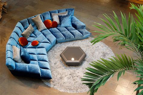 canape bretz half circular cloud 7 designer lounge by bretz blue