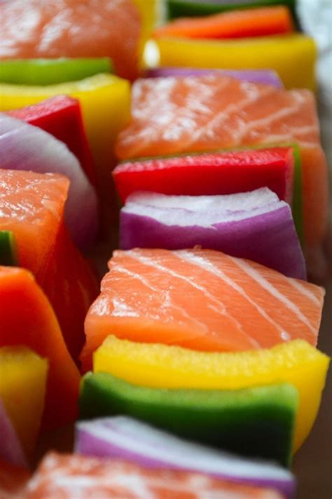 rainbow salmon skewers  view  great island