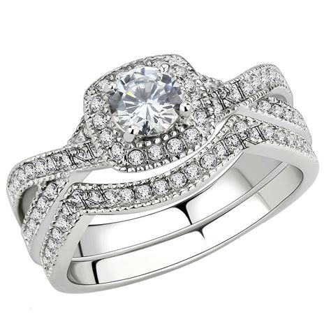 stainless steel s infinity wedding ring halo cut cubic zirconia ebay