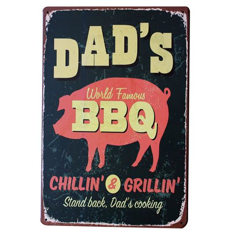 plaque metal cuisine bbq chillin and griilin metal tin decor sign