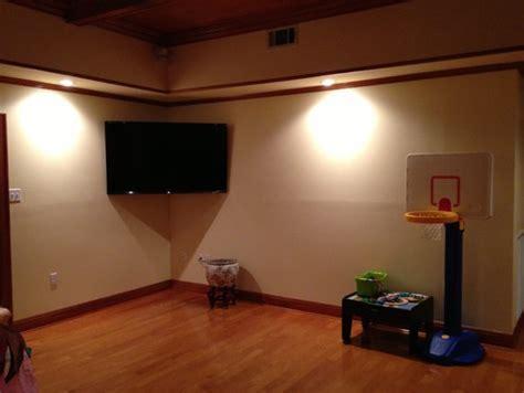 Furniture options under corner mounted flat screen