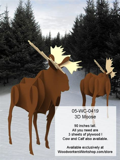 wc   moose  life size yard art woodworking