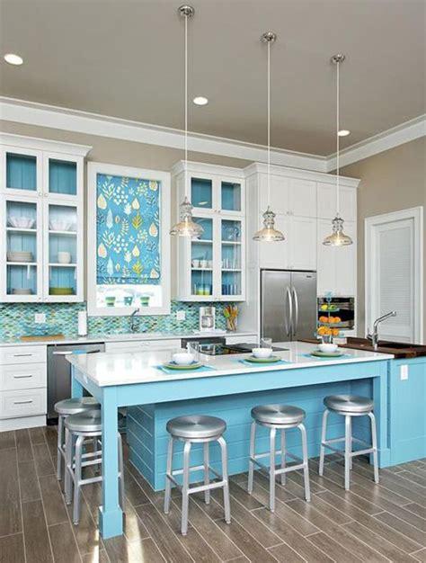 cuisine turquoise et gris cuisine bleu 25 idées déco cuisine bleue