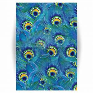 Peacock Feather Folded Greeting Card Blank Any Occasion