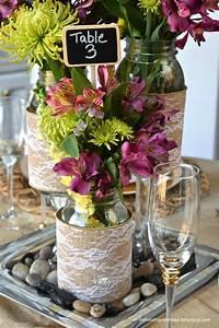 Diy, Mason, Jar, Wedding, Centerpieces