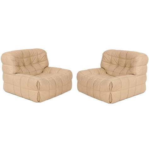 ligne roset leather patchwork lounge chairs at 1stdibs