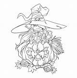 Coloring Witch Pages Halloween Drawing Background Entertained Keep Scary Contour Consider Them sketch template