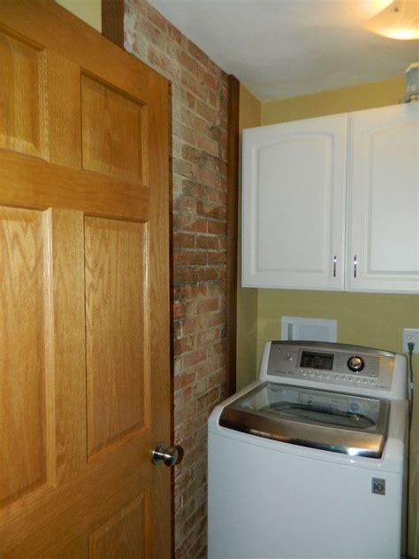 Kitchen Wall by Exposed Brick Wall In Laundry Room Hickory Kitchen