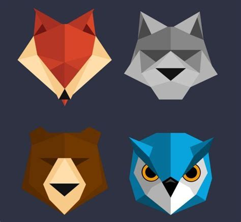 polygon animal icons psd titanui