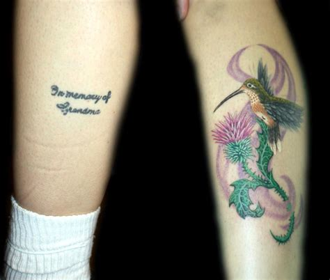 Hummingbird Cover Up Tattoo by Color Realistic Hummingbird Coverup Tattoo By Angela Leaf