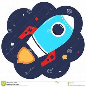Cute Cartoon Colorful Rocket In Space Stock Vector ...