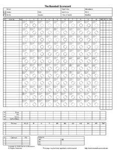printable  baseball scorecard lineup count sheets