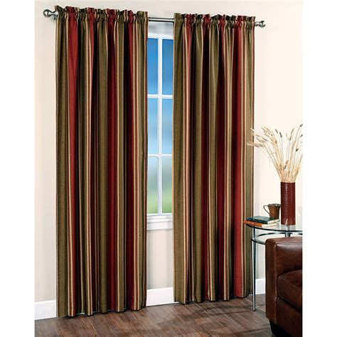 Striped Drapery chf industries faux silk stripe rod pocket curtain panel