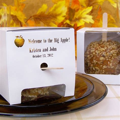 custom printed white candy apple favor boxes