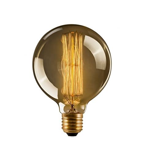 edison light bulb g95 medium globe dimmable 40w squirrel cage filament bulb e27