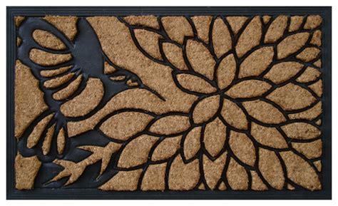 designer doormat quot bird pecking on a flower quot designer doormat contemporary