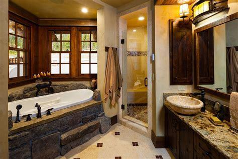 Rustic Bathrooms : Old West Inspired Luxury Rustic Log Cabin In Big Sky