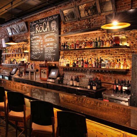 reclaimed brick wall bar design restaurant  bar
