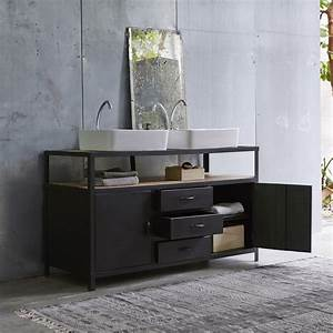 Console Salle De Bain : meuble sous vasque en mtal noir et manguier pour salle de bain tikamoon ~ Teatrodelosmanantiales.com Idées de Décoration