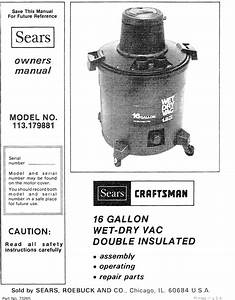Craftsman 113179881 User Manual 16 Gallon Double Insulated