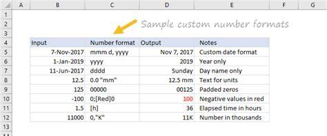 excel custom number formats exceljet