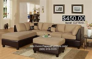 Discount living room furniture hazelnut beige microfiber for Sectional sofa reversible chaise living room furniture