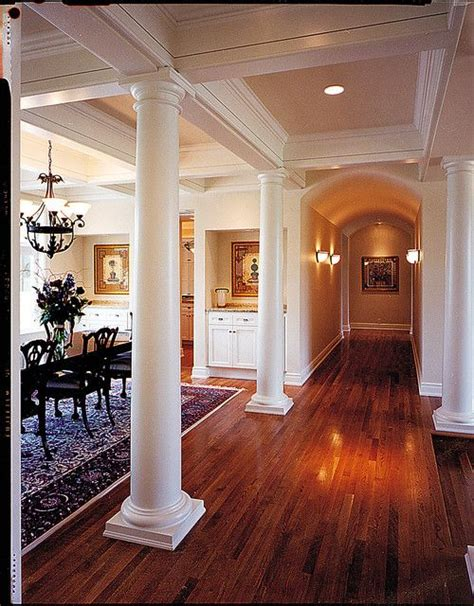 columns separate dining room  hall love  ceiling