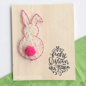 osterhase diy stringart handlettering holz rosa bommel