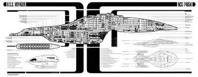 intrepid class starship uss voyager ncc 74656 cut away