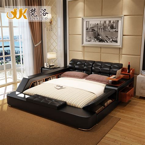 modern leather queen size storage bed frame  side