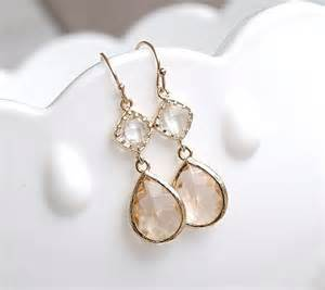 earrings for bridesmaids chagne earrings in gold bridesmaid earrings blush earrings earrings gift for