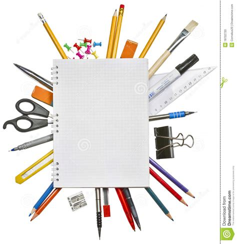 notebook and office supplies stock image image of color
