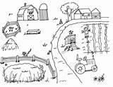 Farm Coloring Scene sketch template