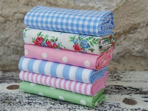 shabby chic fabric remnants fat quarter fabric bundle soft blue pink and green 100 cotton patchwork quilt doll toy