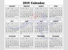 2019 Yearly Calendar Australia Letter & Calendar