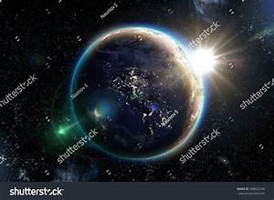 Planet Earth Space Night 3d Illustration Stock ...